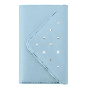 Witte diamanten Grand portemonnee Case voor Apple iPhone 6/6s Plus, 7 Plus, 8 plus-licht blauw