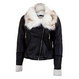 Дамы с длинным рукавом мех шеи шерсть выстроились Zip PVC кожа Женская куртка пальто
