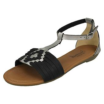 Ladies Savannah T-Bar Weave Sandals F00052 - Black Synthetic - UK Size 6 - EU Size 39 - US Size 8