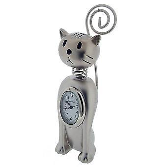 Cadeau producten rechtop verend Cat Mini klok - zilver
