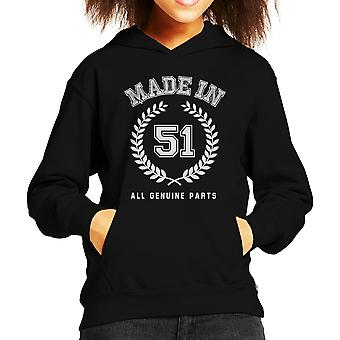 Made In 51 All Genuine Parts Kid's Hooded Sweatshirt