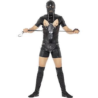 Gimpem GIMP kostým, černý, s Bodysuit, Hood, Bootkryty, Thong, gag & svorky bradavek
