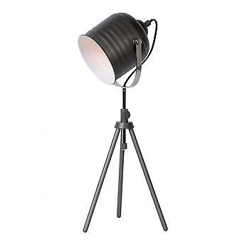 Lucide Studio industriella runda metall gråjärn bordslampa