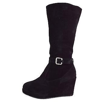 Lovemystyle joelho botas altas com plataforma de cunha em preto