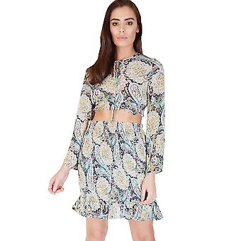WYLDR Green Paisley Crop Top With Elasticated Waist