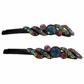 Accesorios para el cabello MiltiColored cristales pelo negro Pin negro Pin