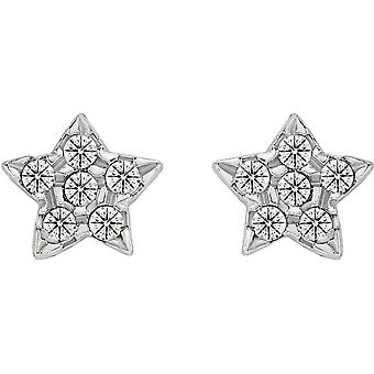 Bella Star Cubic Zirconia Stud Earrings - Silver