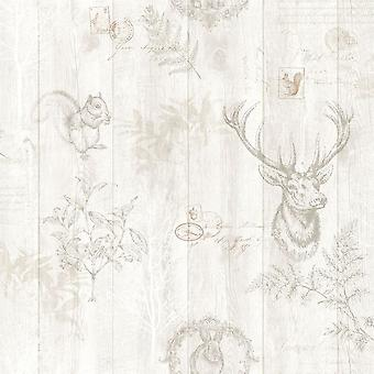 Ciervo de madera Panel papel pintado efecto madera granos animales árboles impresión hojas Holden crema
