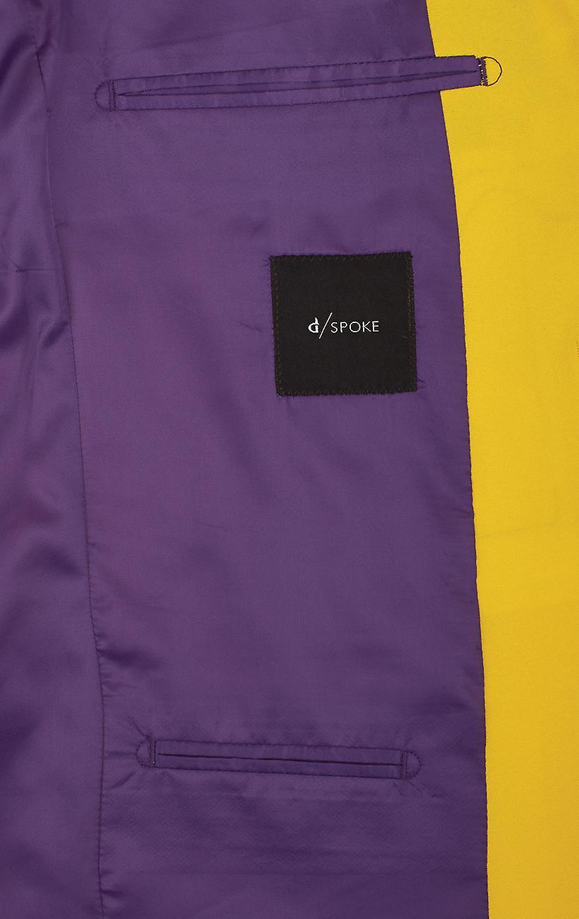 d//Spoke Mens Lemon Yellow 2 Piece Suit Regular Fit Notch Lapel Novelty Partywear