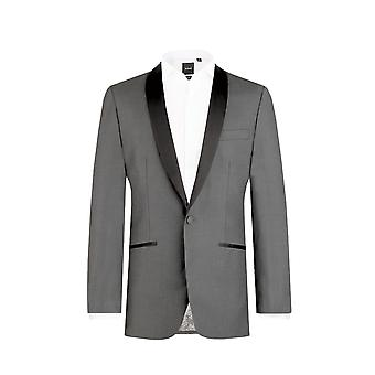 Dobell Mens houtskool smoking Dinner Jacket slanke passen Contrast omslagdoek revers
