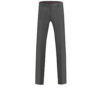 Pantalones de traje carbón Dobell Mens a medida Windowpane ajuste verificación