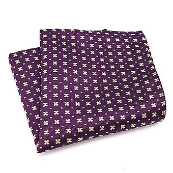 Purple & yellow ditsy pattern men's party pocket square