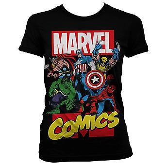 Γυναίκες ' s Μάρβελ Κόμικς υπερήρωες μαύρο T-shirt