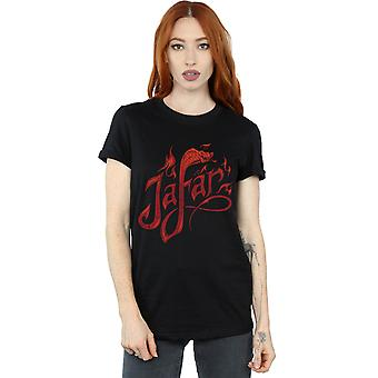 Disney Women's Aladdin Movie Jafar Flames Logo Boyfriend Fit T-Shirt