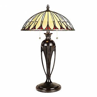 2 Light Table Tiffany Lamp Vintage Bronze