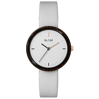Mam Watches Flat Watch for Women Analog Quartz Japanese with Cowskin Bracelet 658