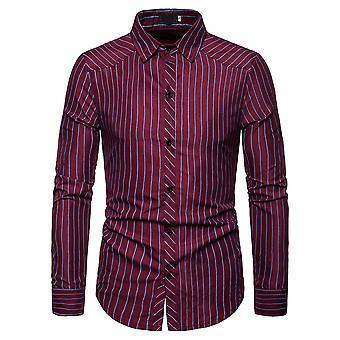 Allthemen الرجال & apos;ق قميص Pinstripe أزياء عارضة قميص طويل الأكمام