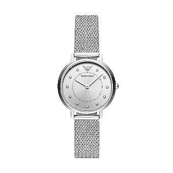 Emporio أرماني Ar11128 الفضة لهجة شبكة سوار الصلب السيدات ووتش