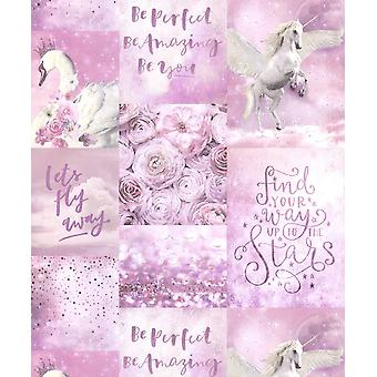 Arthouse Pandora's Dream Glitter Wallpaper Pink Unicorn Swan Floral Typography