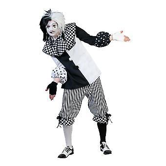 Pierrot Pedrolino Harlequin Men's Costume Clown Fool Pantomime Men's Costume