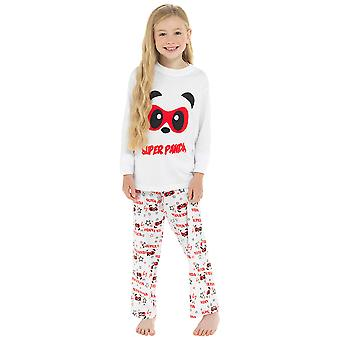 Girls 100% Cotton Super Panda Print Pyjama Set
