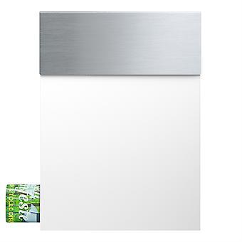 MOCAVI box 510 letter box rostfritt stål vit (ral 9003) med pappersfack