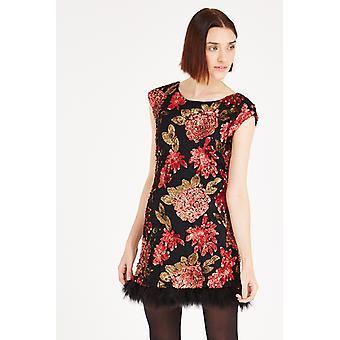 Louche Luxe sulka leikata Fringe kukka Sequin koristellut mekko musta/punainen