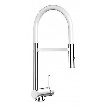 Underwindow Single-lever Kitchen Sink Mixer White Folding Spout And 2 Jets Shower - 122