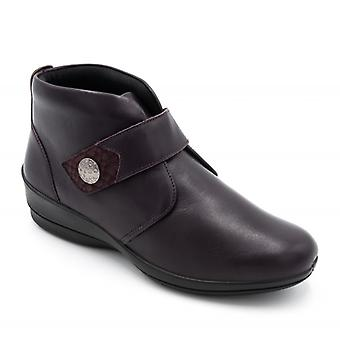 Padders Elena Ladies Leather Wide (e/2e) Ankle Boots Purple