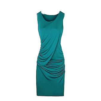 Vincenza damer bodycon veckade ärmlös mini shirred klänning