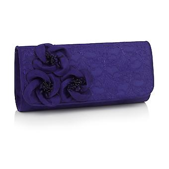 Ruby Shoo Women's Royal Purple Milan Lace Clutch Bag