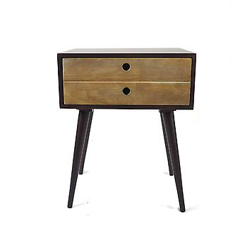 Penguin Home Mid Century Choc Brown and Wheat Side Table