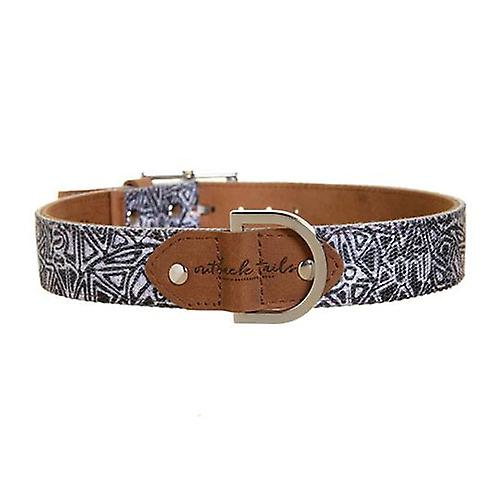 Outback Tails Leather Dog Collar (Mina Mina - Black And white ) Large