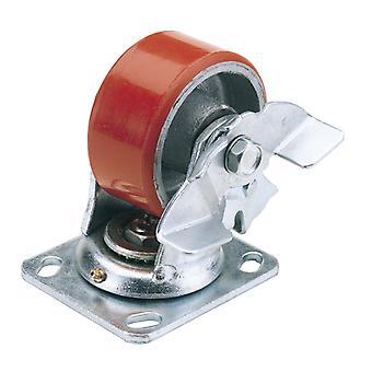160mm dia. draaibare plaat bevestiging Heavy Duty polyurethaan wiel met rem-S. W.L. 400Kg-606160PB
