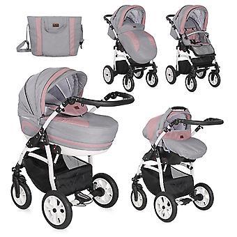 Carrinho de criança de Lorelli 3 em 1 pneupneumático de KARA, saco de mudança, assento de carro, rede de mosquito