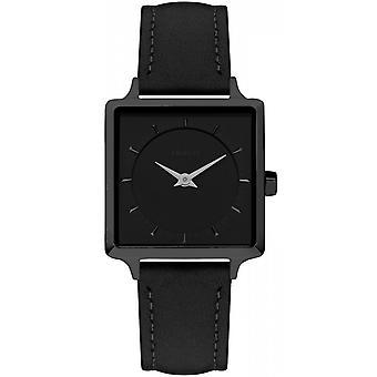 Watch LEONOR - Stahl IP-schwarze Frau schwarze Lederband schwarz Zifferblatt Amalys