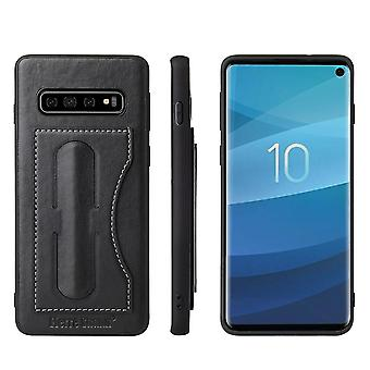 For Samsung Galaxy S10 Case, Black Fierre Shann Luxury Leather Kickstand Cover