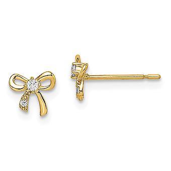 14k Madi K CZ Cubic Zirconia Simulerad Diamond Bow Post Örhängen Smycken Gåvor för kvinnor