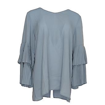 Joan Rivers Femmes apos;s Top V-Neck w/ Manches plissées Bleu A309574