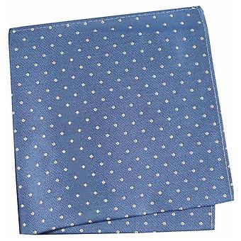 David Van Hagen Small Spots Silk Handkerchief - Blue/White