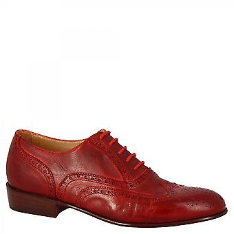 Leonardo Shoes Women's handmade brogues oxford shoes in red goat leather
