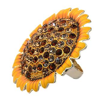 Sunflower Crystal Glass and Alloy Large Fashion Ring