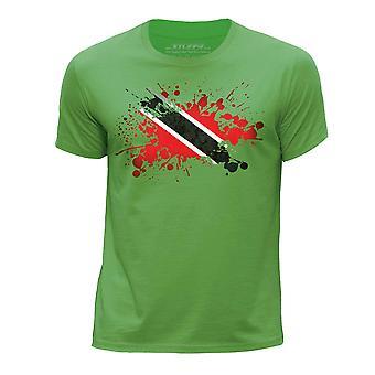 STUFF4 Мальчика круглый шею Т-маечка/Тринидад и Тобаго флаг Splat/зеленый