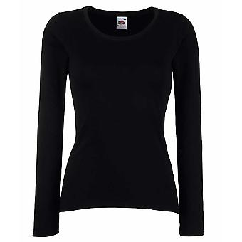 Fruit of the Loom Ladies Fit Valueweight Long Sleeve T Shirt Black,White