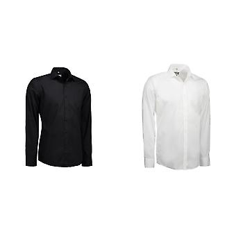 ID Mens Poplin Shirt Long Sleeve Slim Fit