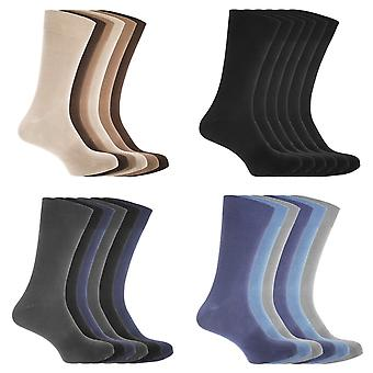 FLOSO Mens Cotton Mix Lycra Socks (Pack Of 6)