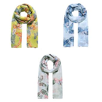 Jewelcity Womens/Ladies Butterfly Dance Print Scarf