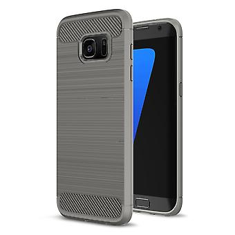 Shell pour Samsung Galaxy S7 Edge Case Protection TPU Slim Armor Carbon Fiber Grey