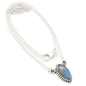 Labradorite Necklace 925 Sterling Silver Necklace Necklace Blue Green (MCO 11-05)