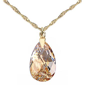 Ah! Jewellery Women's 16mm Golden Shadow Pear Crystal Necklace